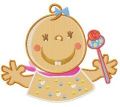 Baby with toy rattle embroidery design