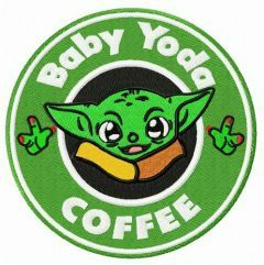 Baby Yoda coffee embroidery design