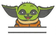 Baby Yoda monogram embroidery design