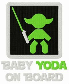 Baby Yoda on board embroidery design