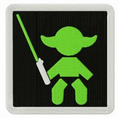 Baby Yoda sign embroidery design