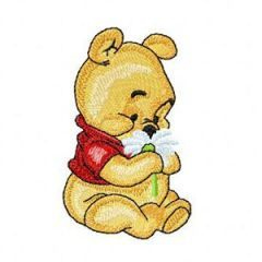Baby Pooh with Flower embroidery design