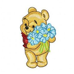 Baby Pooh with Flowers embroidery design