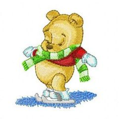 Baby Pooh on Winter embroidery design