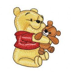 Baby Pooh with toy embroidery design