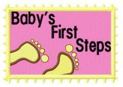 Baby's first steps embroidery design