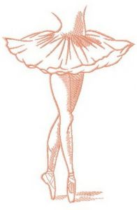 Ballerina's pointe dance embroidery design