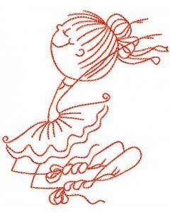 Ballet dancer embroidery design