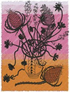 Barbed bouquet embroidery design