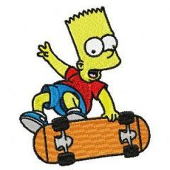 Bart with Skateboard embroidery design