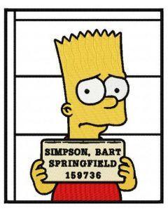 Bart in prison embroidery design