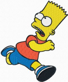 Bart Simpson running embroidery design