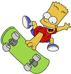 Bart Simpson Skater Boy embroidery design