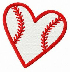 Baseball heart embroidery design 3