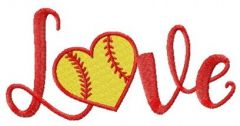 Baseball love embroidery design