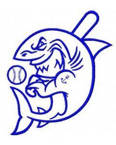 Baseball shark 3 embroidery design