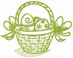 Basket for Easter bunny embroidery design