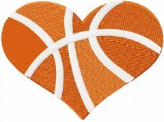 Basketball heart embroidery design