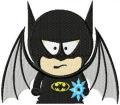 Batman south park style embroidery design