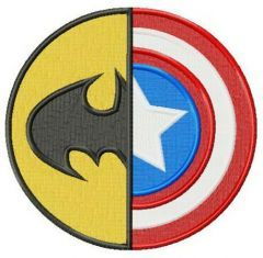 Batman or Captain America embroidery design