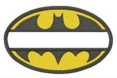 Batman oval monogram embroidery design