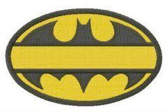 Batman oval yellow monogram embroidery design