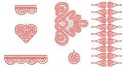 Battenburg lace set embroidery design