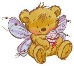 Bear fairy with cupcake embroidery design