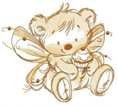 Bear fairy with cupcake sketch embroidery design