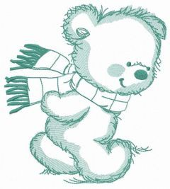Bear in a warm striped scarf 5 embroidery design