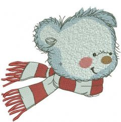 Bear in a warm striped scarf 6 embroidery design