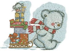 Bear in a warm striped scarf embroidery design