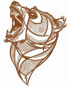 Bear roars 2 embroidery design