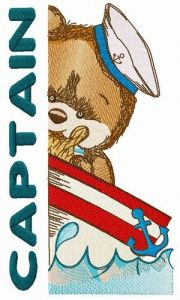 Bear the captain embroidery design