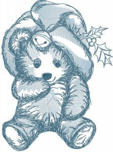 Bear toy for Christmas embroidery design
