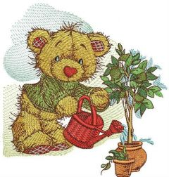 Bear watering lemon embroidery design