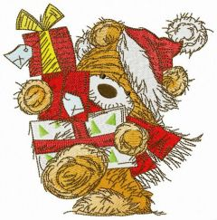 Bear with New Year presents embroidery design