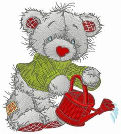 Bear with red watering can embroidery design