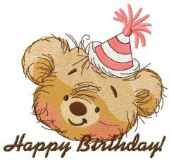 Bear's birthday 4 embroidery design