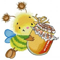 Bee and honey embroidery design