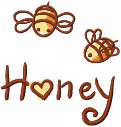 Bee love honey embroidery design