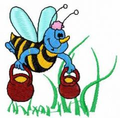 Bee with honey 2 embroidery design