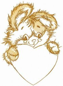 Beige bunny with heart embroidery design