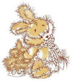 Beige bunny with tiny fir tree embroidery design