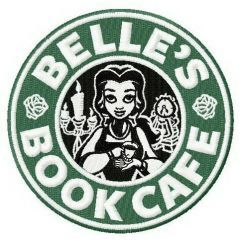 Belle's book cafe embroidery design