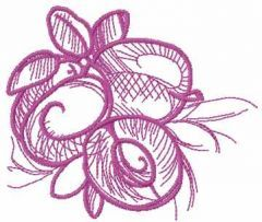Berry sketch embroidery design