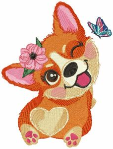 Best time for corgi embroidery design