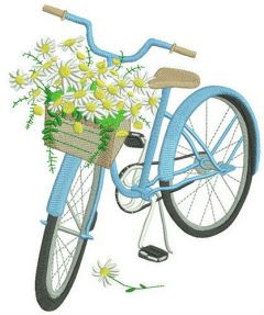 Bicycle and chamomiles embroidery design