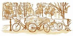 Bicycle city trip embroidery design