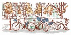 Bicycle trip embroidery design